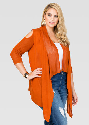 Cold Shoulder Pointelle Cardigan