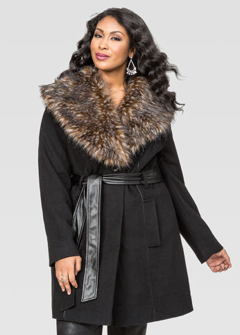 Belted Fur Collar Wool Coat