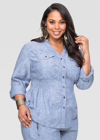 Smocked Linen Chambray Shirt