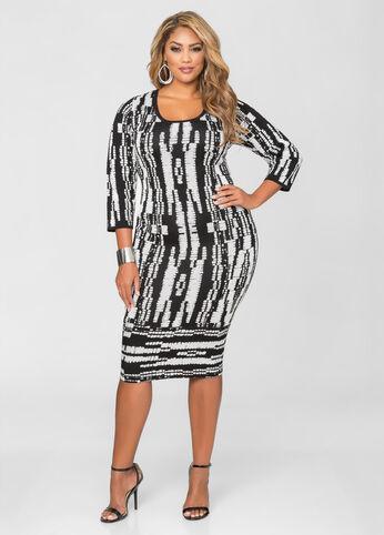 Grid Print Midi Dress