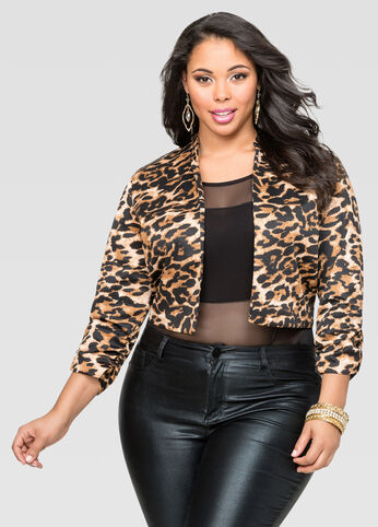 Animal Print Cropped Scuba Jacket