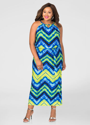 Chevron Tie Dye Maxi Dress