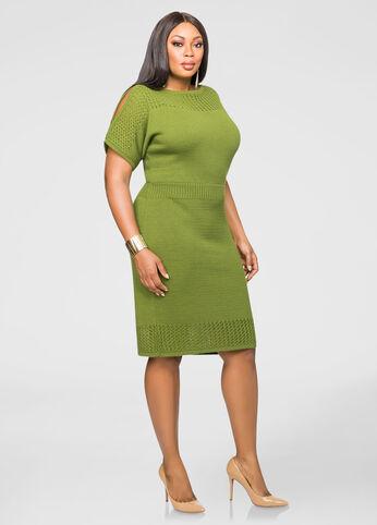 Slit Sleeve Sweater Dress