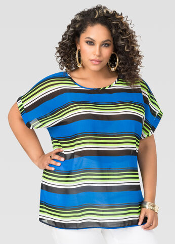 Striped Chiffon Tee
