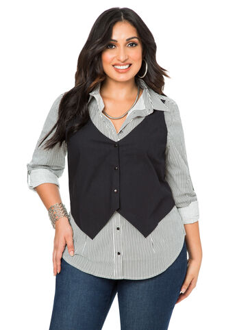 Button Shirt With Attached Vest