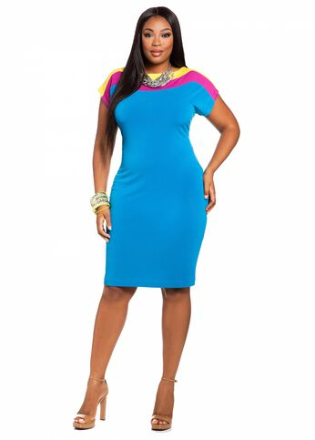 Tri-tone Color Block Sheath Dress