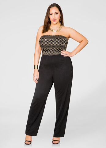 Strapless Lace Bodice Jumpsuit