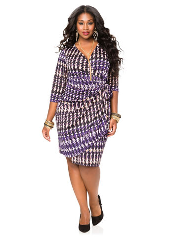 Classic Houndstooth Wrap Dress