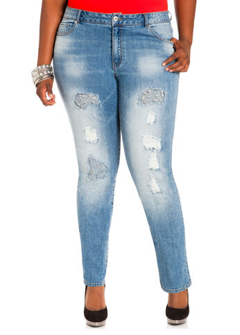 Distressed Rhinestone Jeans