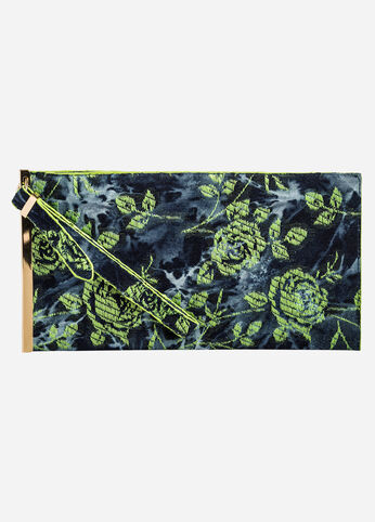 Floral Denim Wristlet Bar Clutch