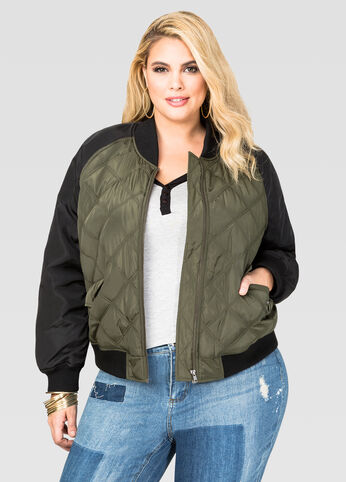 Quilted Two-Tone Bomber Jacket