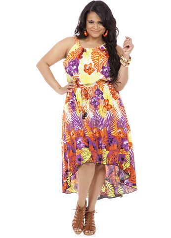 Tropical Print Drawstring Waist Dress