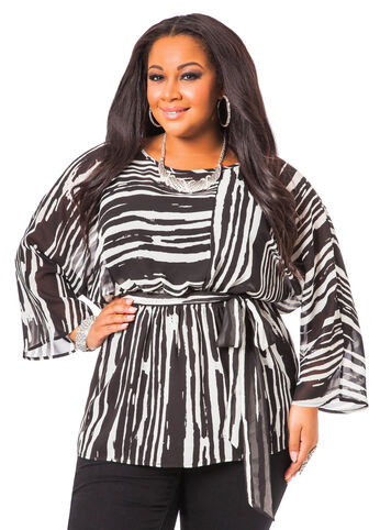 Striped Printed Tunic with Belt