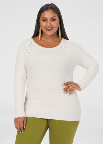 Lace-Up Shoulder Fitted Sweater