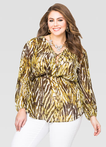 Sheer Animal Print Tunic
