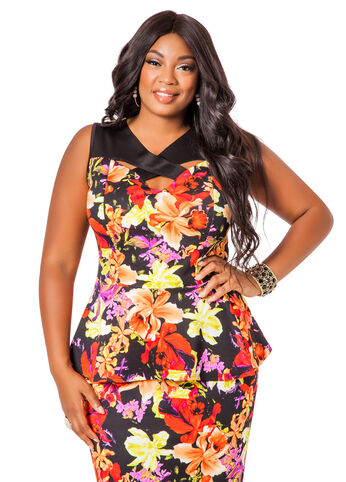 Sleeveless Crossneck Floral Peplum Top