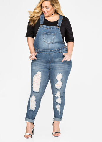 Destructed Skinny Jean Overall