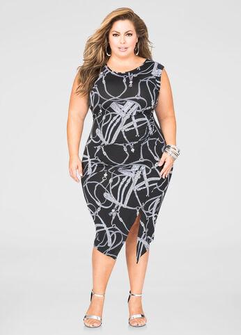 Front Slit Status Print Dress