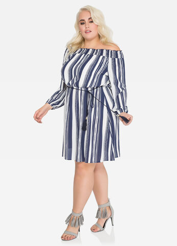 Striped Off-Shoulder Boho Dress
