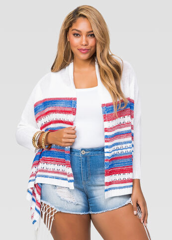 Flag Stripe Open Front Cardigan