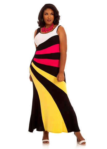 Multicolor Sunburst Maxi Dress