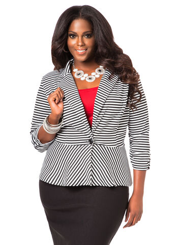 Striped Peplum Blazer