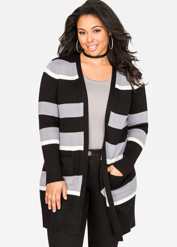 Striped Longline Cardigan Sweater