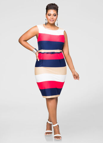 Ponte Bold Stripe Sheath Dress