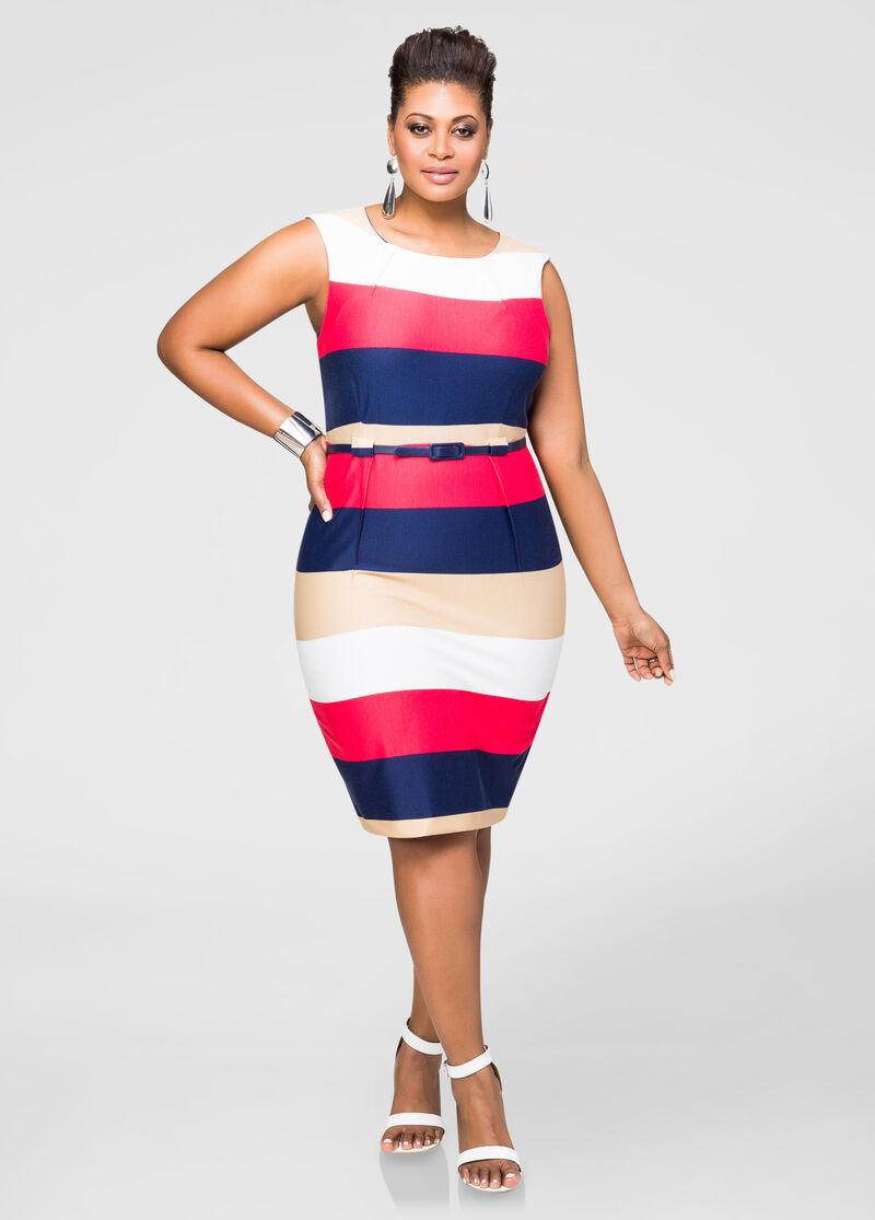 Ponte bold stripe sheath dress plus size dresses ashley for Ashley stewart wedding dresses
