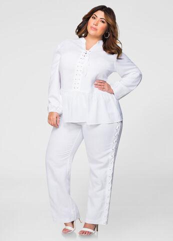 Lace-Up Side Linen Pants