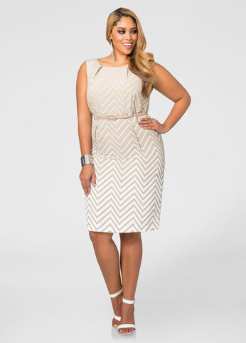 Belted Ombre Chevron Dress