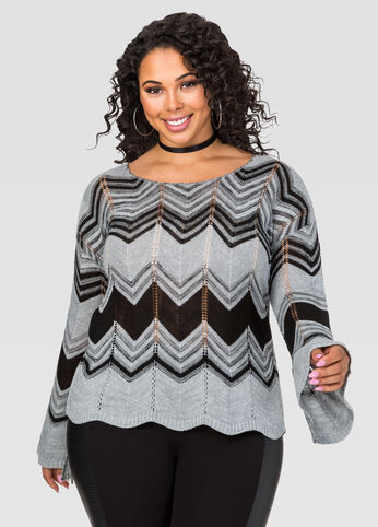 Chevron Bell Sleeve Sweater