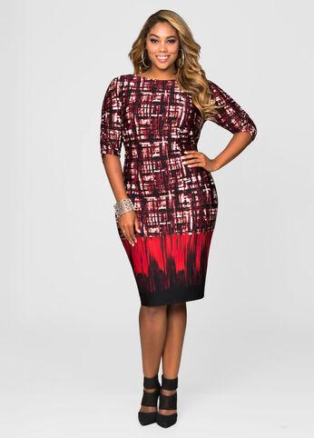 Grid Border Print Dress