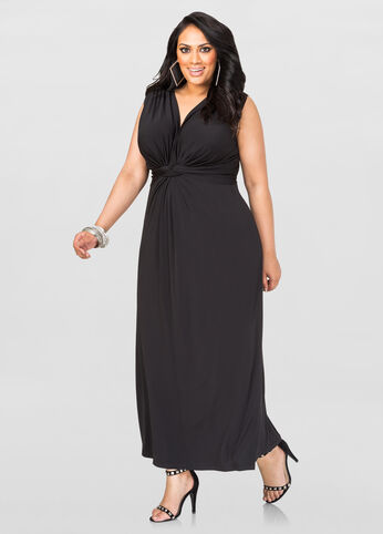 Plus Size Knot Front Maxi Dress in Black - Front
