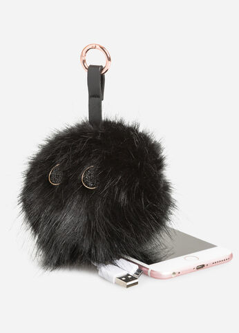 Portable Charger Fur Pom Keychain