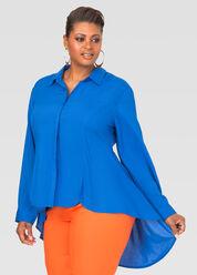Button Front Fishtail Shirt