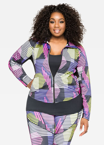 Printed Mesh Active Jacket