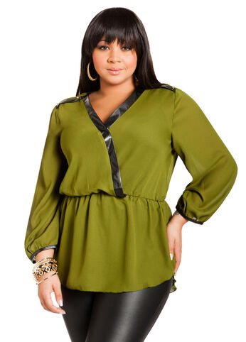 Georgette Surplice Peplum Top