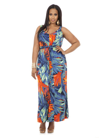 Knot Front Tropical Print Maxi Dress