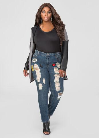 Destructed Appliqué Skinny Jean