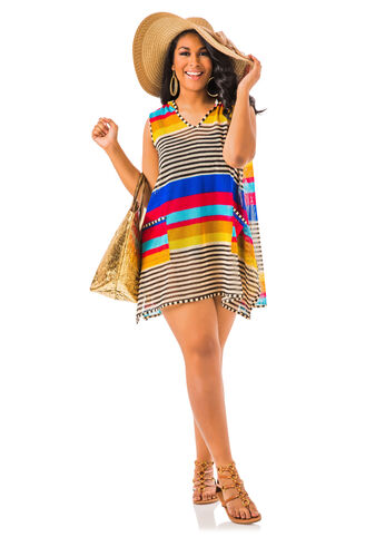 Hooded Stripe Cover-up