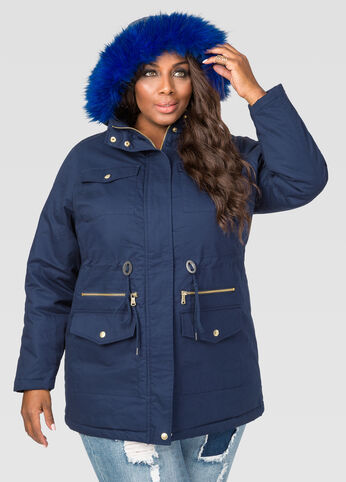 Blue Faux Fur Lined Parka Winter Coat