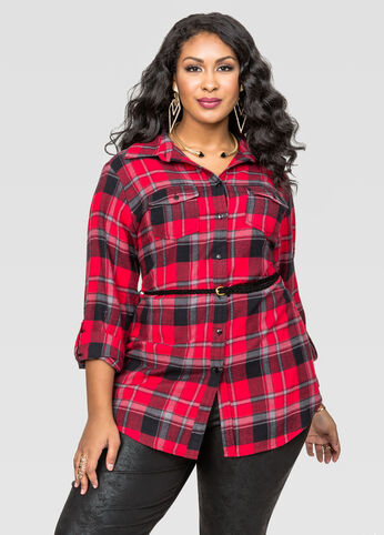 Belted Plaid Flannel Tunic