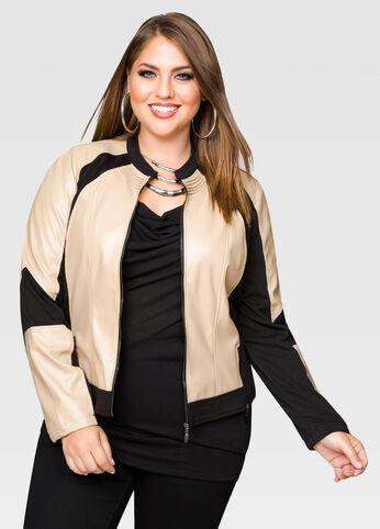 Center Zip Colorblock Moto Jacket