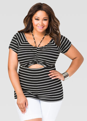 Striped Cut-Out Tee