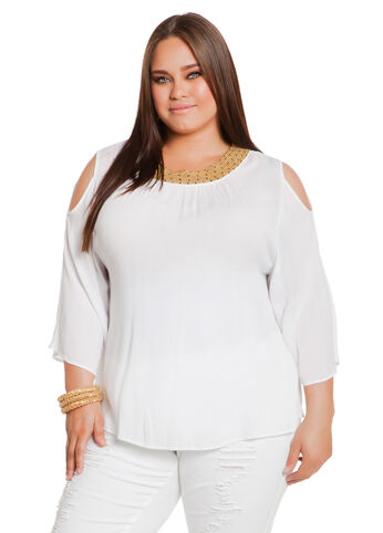 Cold Shoulder Gauze Bead-Neck Top