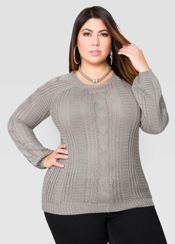 Zip Back Hi-Lo Cable Sweater