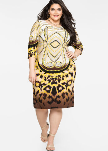 Mixed Print Sheath Dress