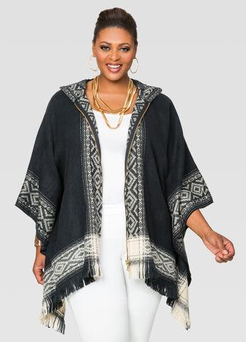 Zip Font Aztec Print Poncho Sweater