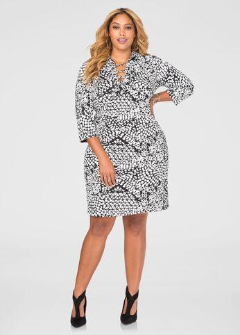 Printed Lace-Up Tunic Dress